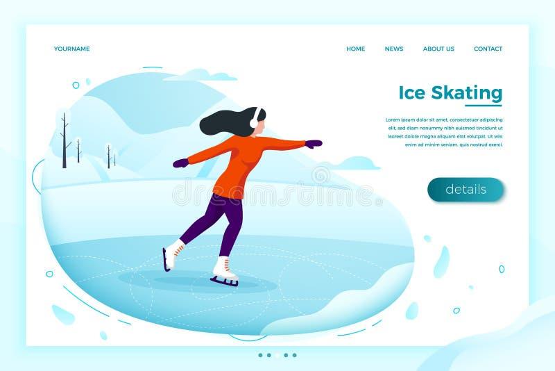 Wektor - zimy łyżwowy lodowisko z łyżwiarską dziewczyną ilustracja wektor