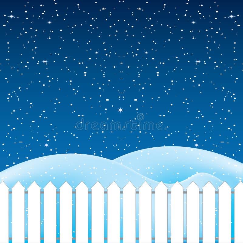 Wektor zimy scena, biały śnieg i niebieskie niebo, royalty ilustracja