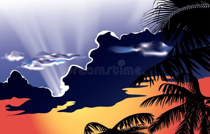 wektor - zmierzch z chmurnym niebem ilustracji