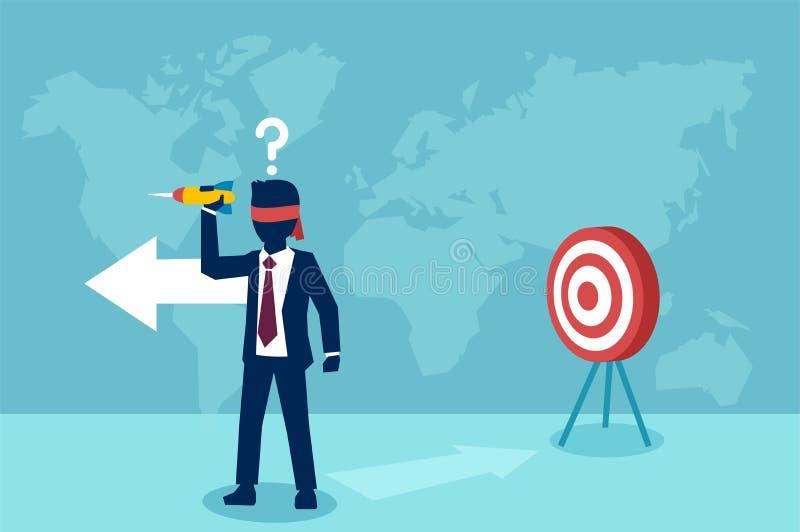 Wektor zmieszany opaska biznesmen próbuje uderzać cel z strzałką ilustracja wektor