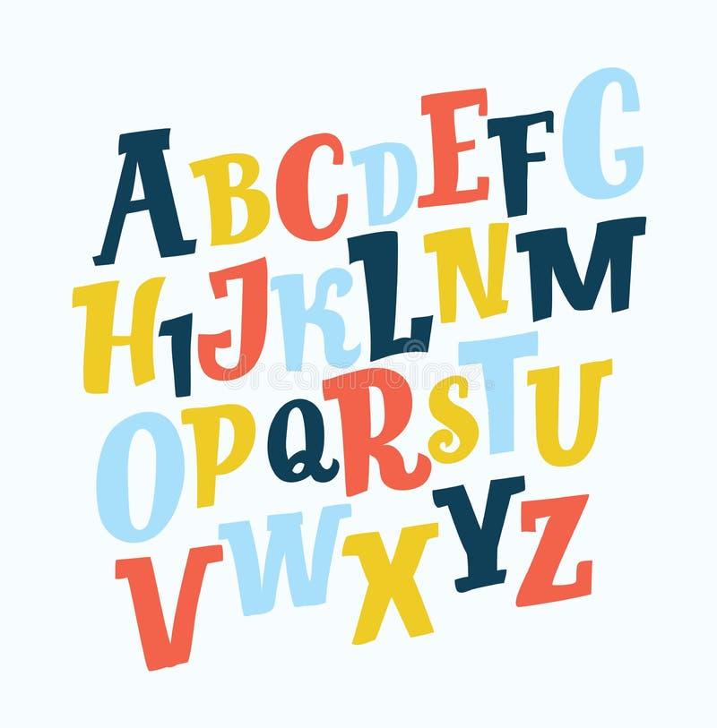 Wektor zniekształcająca usterki chrzcielnica Modny stylowy literowania typeface Łacińscy listy od A Z ilustracji