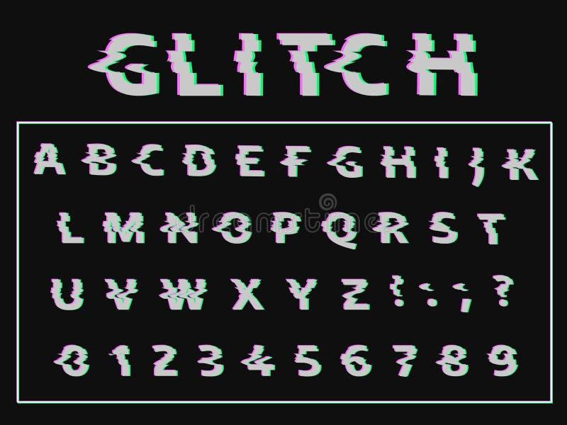 Wektor zniekształcająca usterki chrzcielnica Modny stylowy literowania typeface ilustracja wektor
