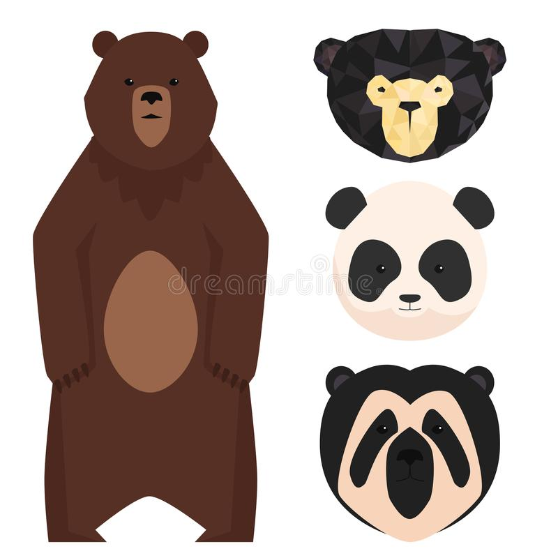 Wektor znosi różnego stylowego śmiesznego szczęśliwego zwierzę kreskówki drapieżnika charakteru śliczną niedźwiadkową ilustrację ilustracji