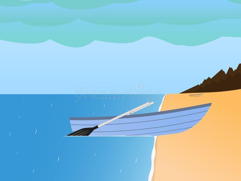 Wektorowa łódź rybacka na piaskowatej plaży morzu i royalty ilustracja