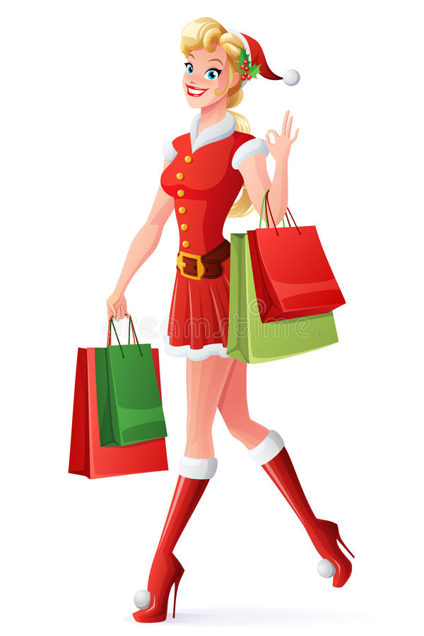 Wektorowa ładna kobieta robi zakupy OK i pokazuje w Santa stroju ilustracja wektor