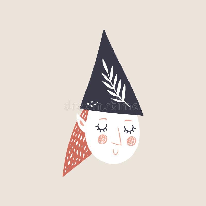 Wektorowa śliczna doodle dziewczyny elfa twarz, wystrój ciie za element kolekcji, pepiniery ilustracja, postać z kreskówki, klame ilustracja wektor