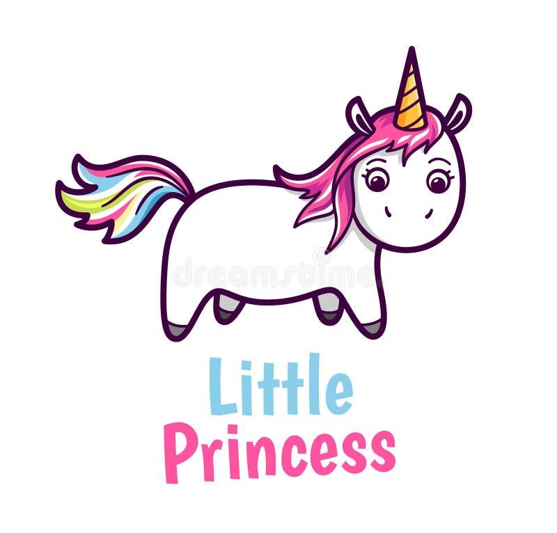 Wektorowa śliczna dziecko jednorożec z tęcza koloru hairs royalty ilustracja