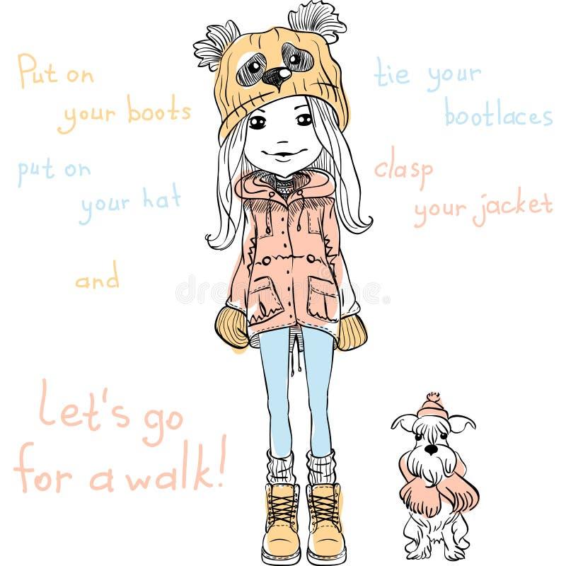 Wektorowa śliczna dziewczyna z psem ilustracja wektor