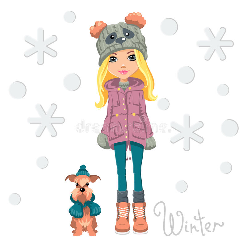 Wektorowa śliczna dziewczyna z psem royalty ilustracja
