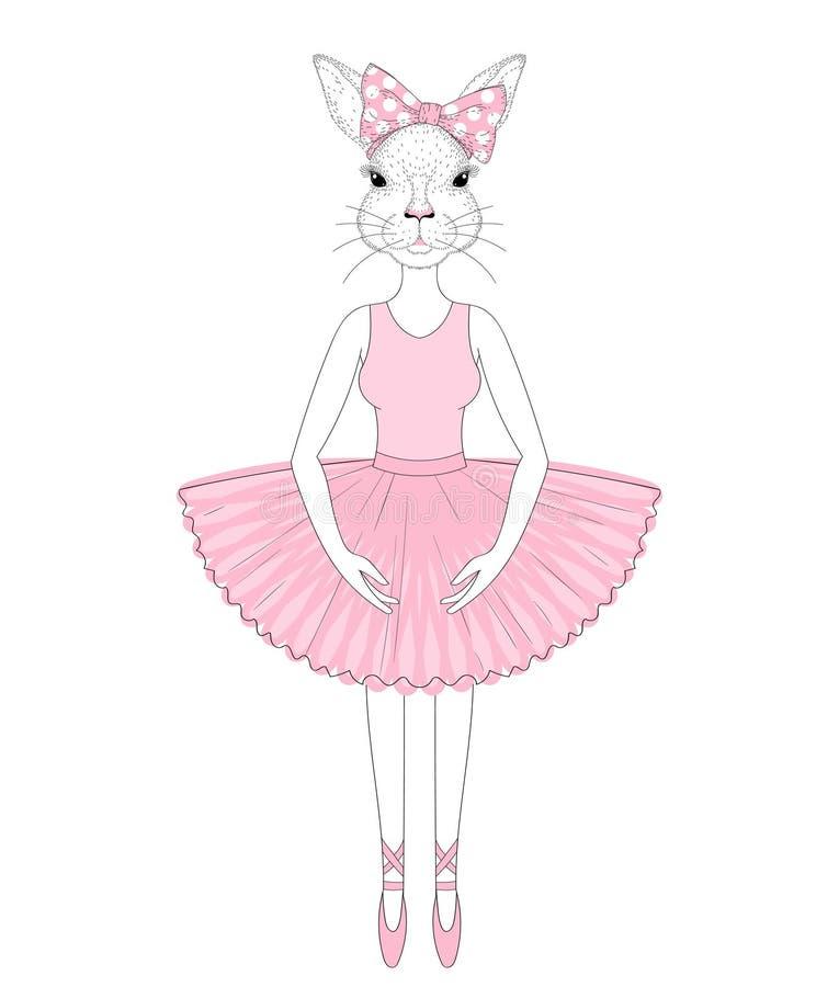 Wektorowa śliczna królik dziewczyna w sukni jak balerina Ręka rysujący anthr ilustracja wektor