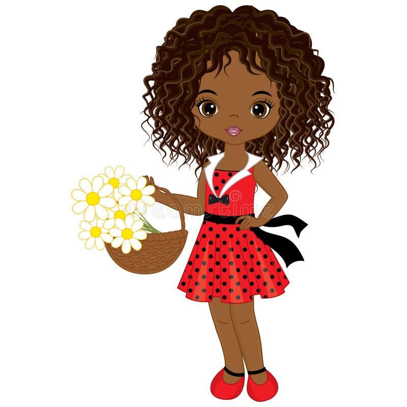 Wektorowa Śliczna Mała amerykanin afrykańskiego pochodzenia dziewczyna z koszem kwiaty ilustracja wektor