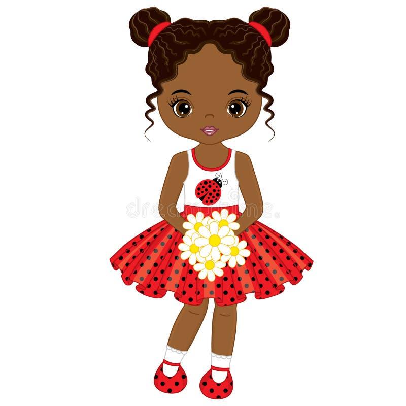Wektorowa Śliczna Mała amerykanin afrykańskiego pochodzenia dziewczyna z kwiatami obrazy stock