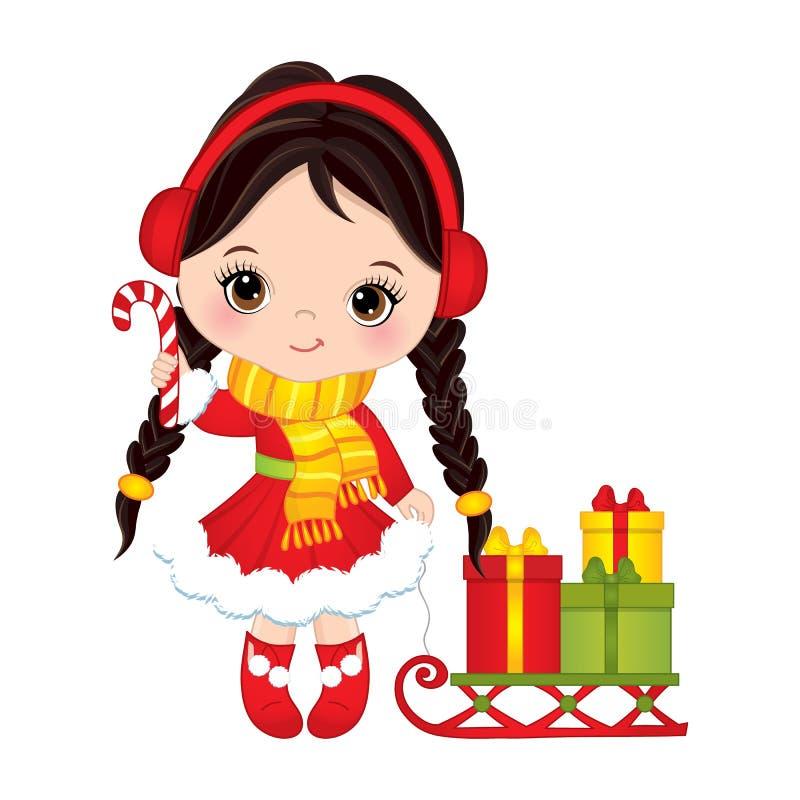 Wektorowa Śliczna mała dziewczynka z cukierku kija Pełnozamachowymi i Bożenarodzeniowymi prezentów pudełkami royalty ilustracja