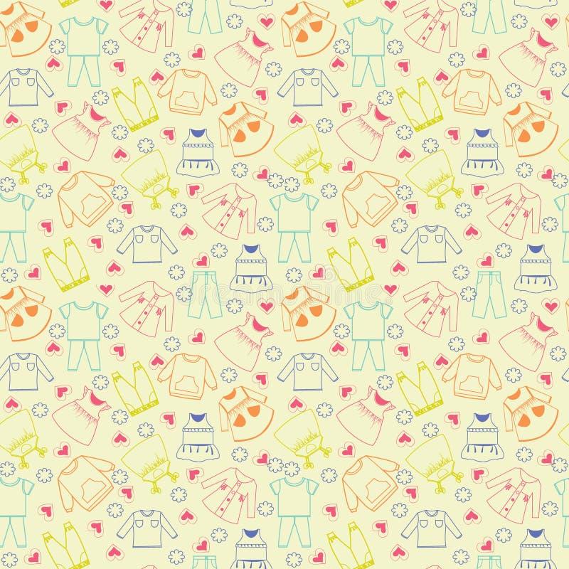Wektorowa śliczna tło kolekcja dziecko i dzieci odziewa royalty ilustracja
