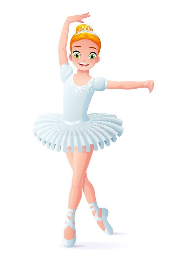 Wektorowa śliczna uśmiechnięta młoda dancingowa baleriny dziewczyna w białej spódniczce baletnicy ilustracja wektor