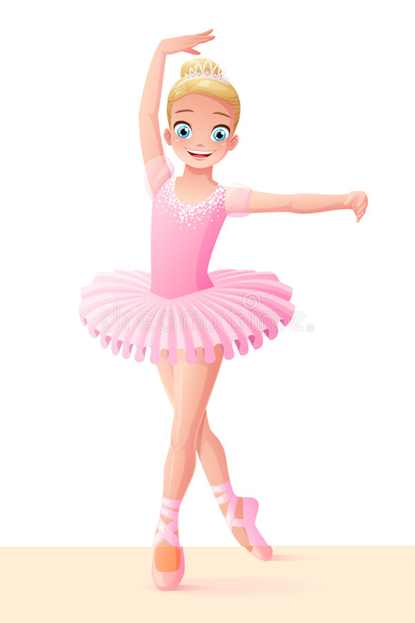 Wektorowa śliczna uśmiechnięta młoda dancingowa baleriny dziewczyna w różowej spódniczce baletnicy ilustracji