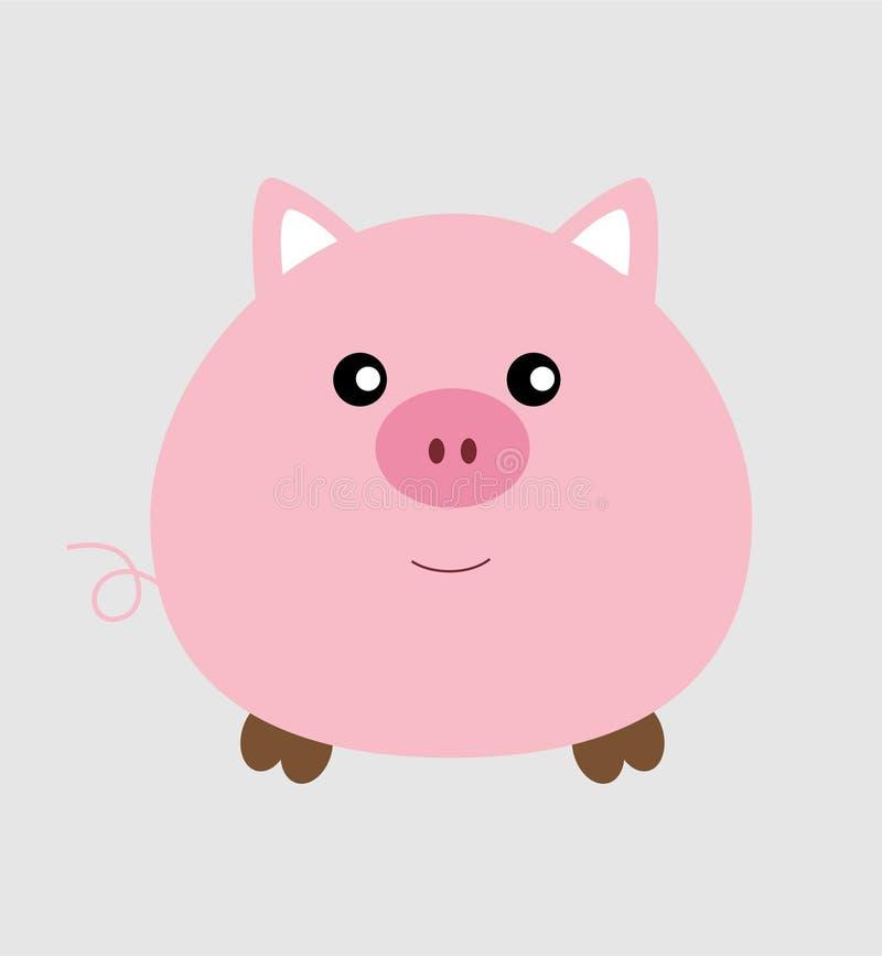 Wektorowa Śliczna Zwierzęca Mała świnia royalty ilustracja