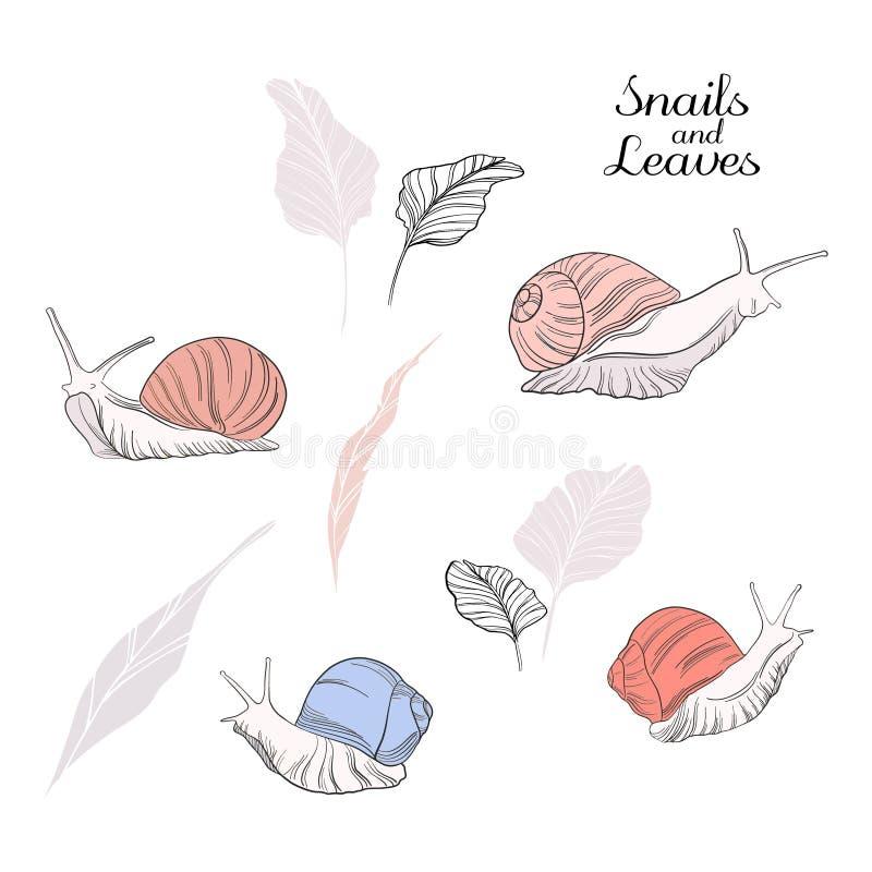 Wektorowa ślimaczek przyrody ilustracja i pociągany ręcznie kształty Dziecięca śliczna doodle tekstura Wielki dla tkaniny, tkanin ilustracja wektor