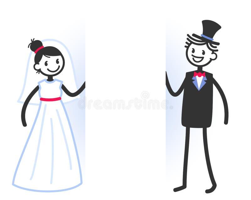 Wektorowa ślubna ilustracja śliczny kij oblicza bridal pary z pustą biel przestrzenią dla twój teksta ilustracja wektor
