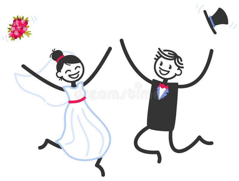 Wektorowa ślubna ilustracja szczęśliwy kij oblicza bridal pary doskakiwanie, odświętność i royalty ilustracja