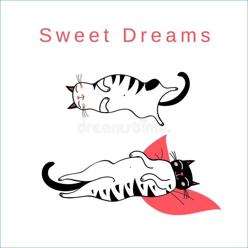 Wektorowa śmieszna karta z sypialnymi graficznymi kotami ilustracja wektor