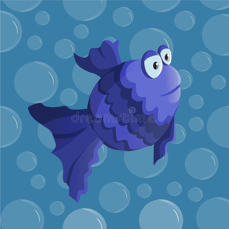 Wektorowa śmieszna kreskówki ryba ilustracji