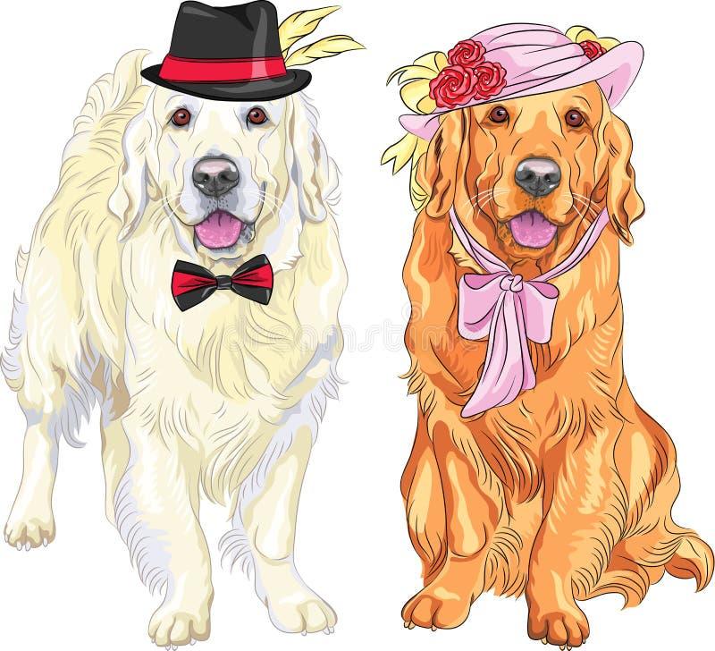 Wektorowa śmieszna para jest ubranym kapelusze i ti psy Labrador retriever ilustracji