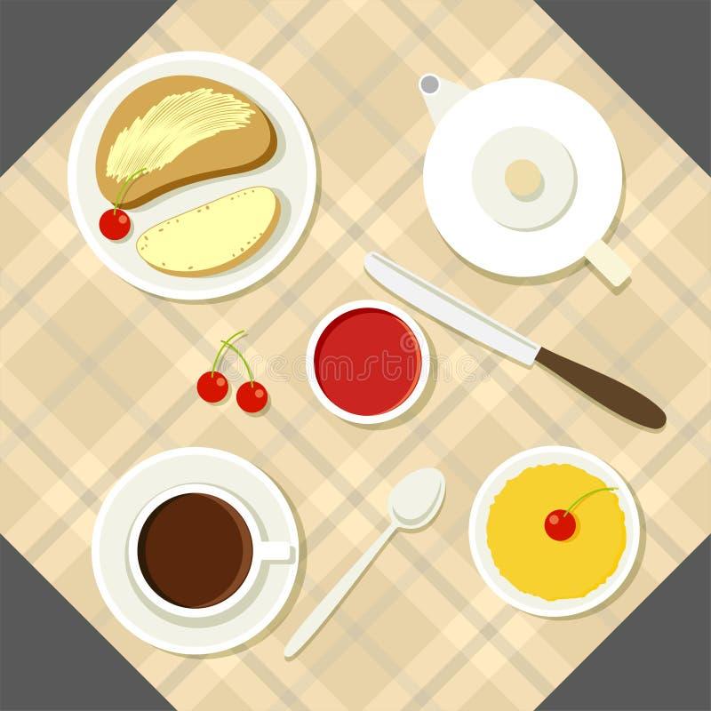 Wektorowa śniadaniowa ilustracja z świeżą żywnością i ilustracji