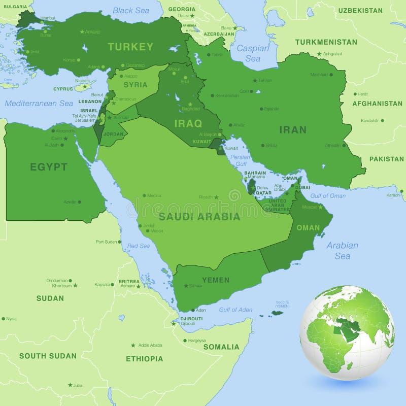 Wektorowa Środkowy Wschód zieleni mapa royalty ilustracja