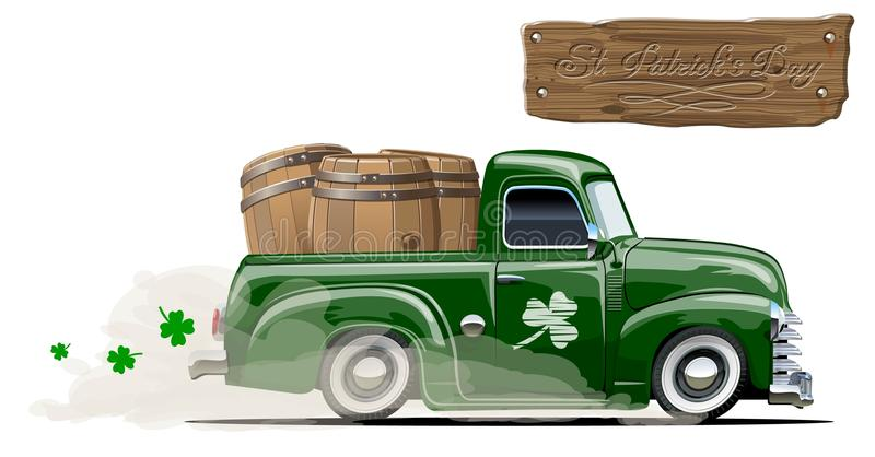 Wektorowa świętego Patrick ` s kreskówki piwa retro furgonetka royalty ilustracja