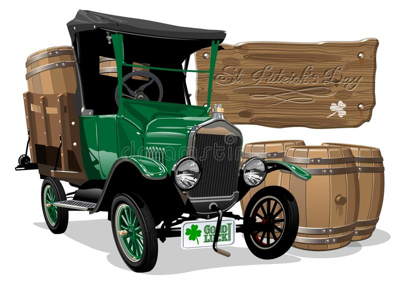 Wektorowa świętego Patrick ` s rocznika kreskówki piwa ciężarówka ilustracji