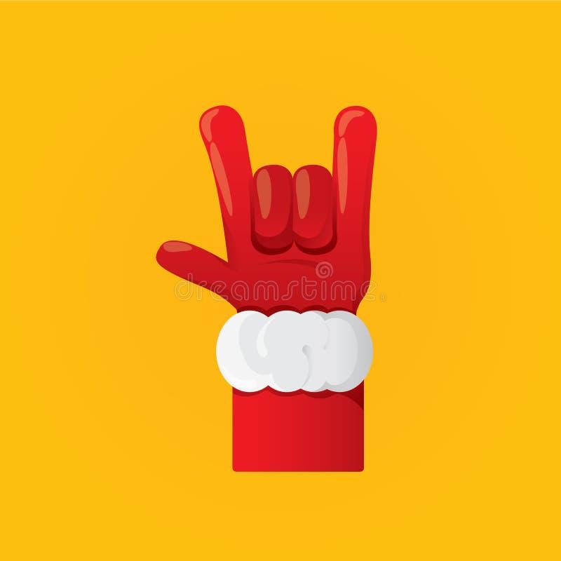 Wektorowa Święty Mikołaj ręki skały n rolki ikona ilustracja wektor