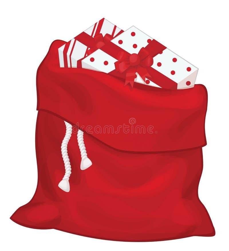 Wektorowa Święty Mikołaj torba ilustracji