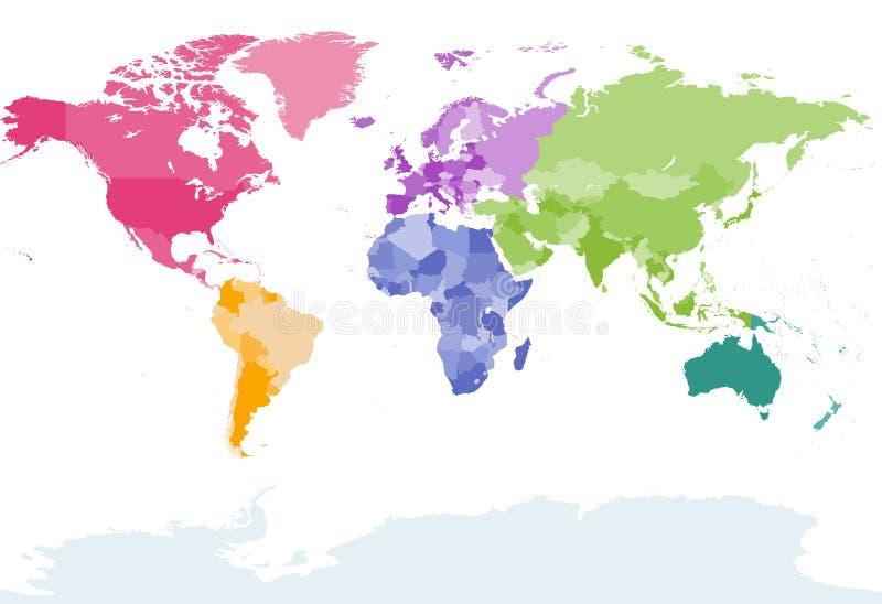 Wektorowa światowa mapa barwiąca kontynentami ilustracja wektor