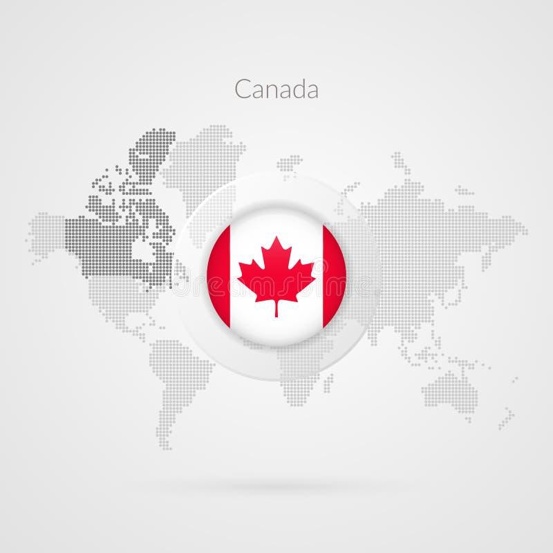 Wektorowa Światowa mapa infographic z liścia klonowego symbolem ilustracji