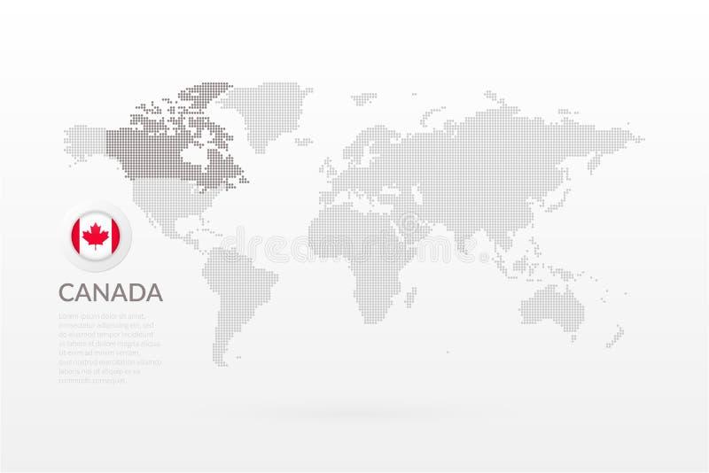 Wektorowa Światowa mapa infographic z liścia klonowego symbolem Kanadyjczyk chorągwiana ikona Kanada kropkował szablon dla biznes ilustracja wektor