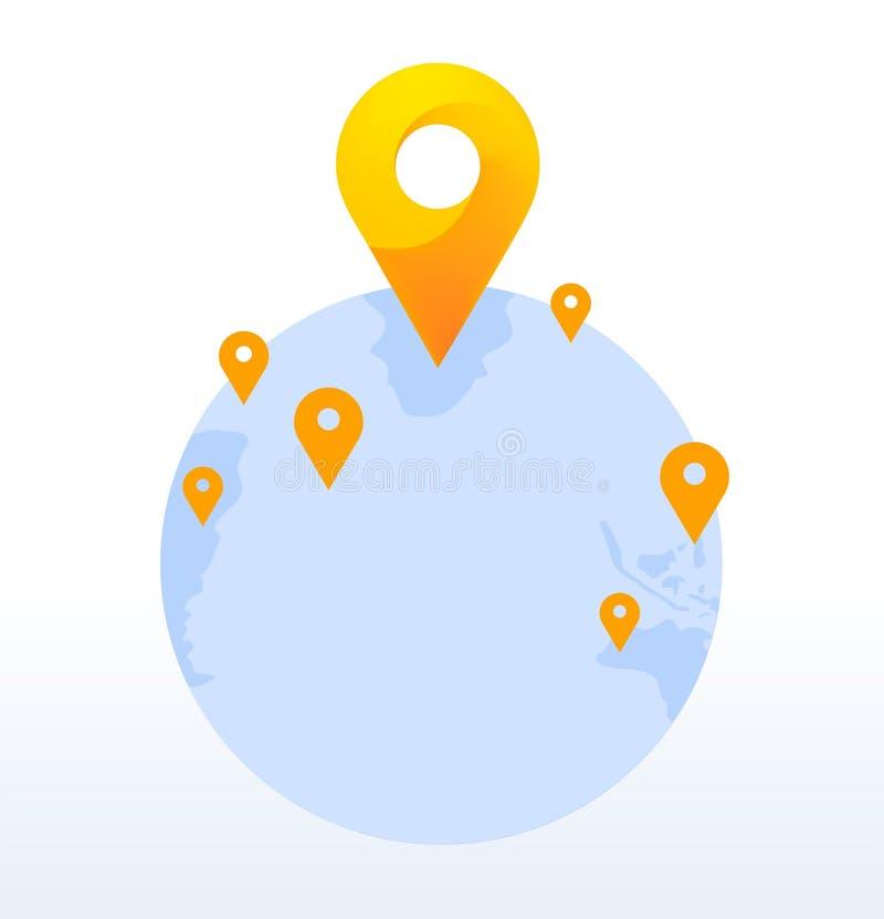 Wektorowa światowa mapa z szpilkami ilustracyjnymi Świat z szpilki lokaci ikoną Światowa podłączeniowa ikona ilustracja wektor