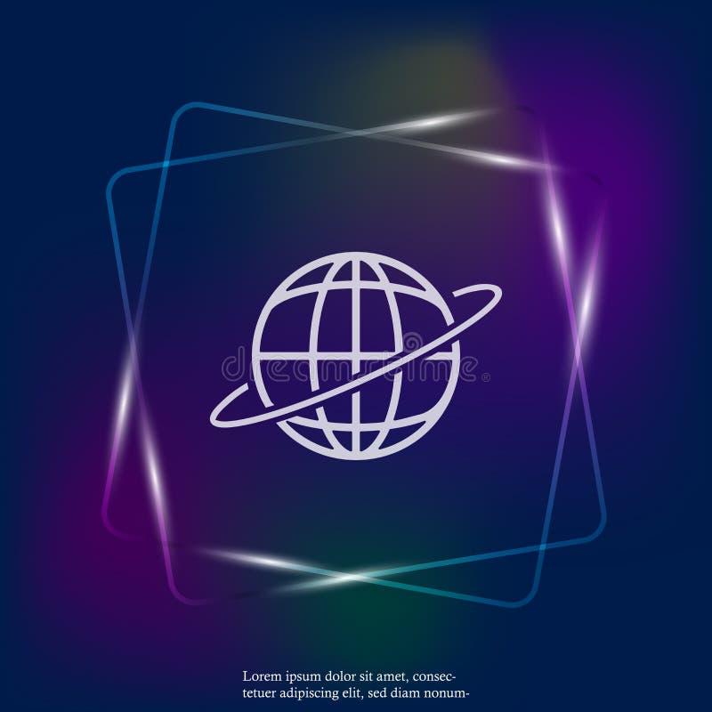 Wektorowa światowa neonowego światła ikona Płaska kuli ziemskiej ikona Warstwy grupować dla łatwej edytorstwo ilustraci royalty ilustracja