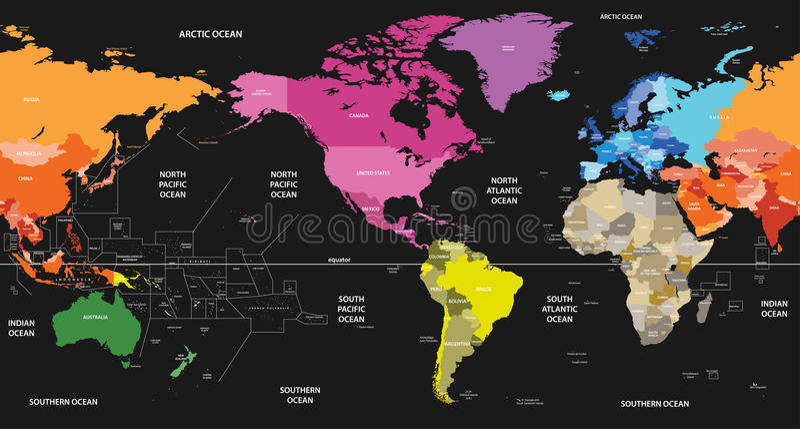 Wektorowa światowa polityczna mapa barwił kontynentami na czarnym tle i ześrodkowywał Ameryka ilustracja wektor