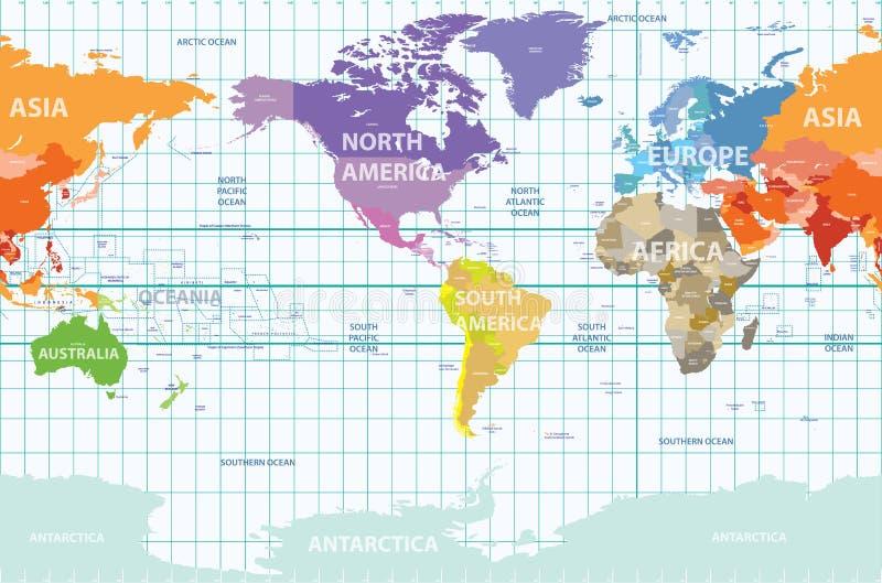 Wektorowa światowa polityczna mapa ześrodkowywająca Ameryka royalty ilustracja