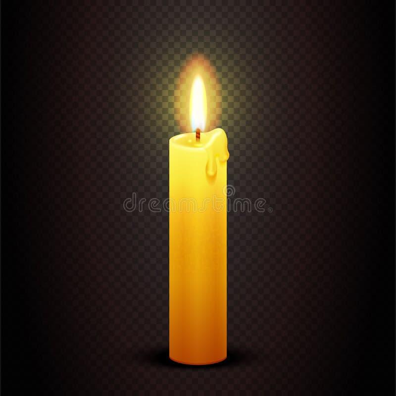 Wektorowa świeczka z płomieniem na przejrzystym w kratkę ciemnym tle, blasków świecy bożych narodzeniach i urodzinowej karty szab ilustracja wektor