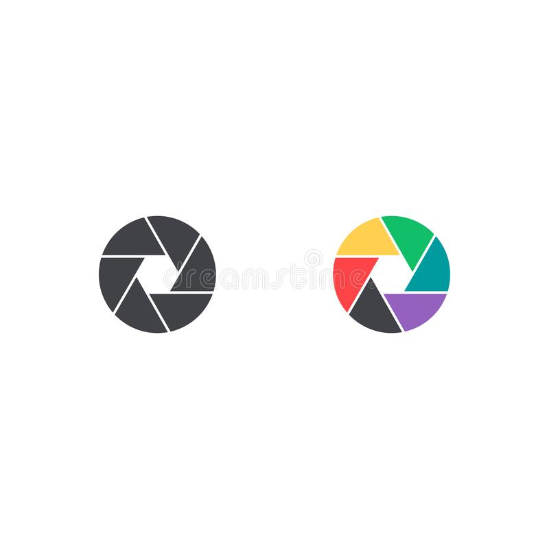 Wektorowa żaluzi ikona Kolorowy kamera symbol odizolowywający Interfejsu guzik Element dla projekta mobilnego app strony internet royalty ilustracja