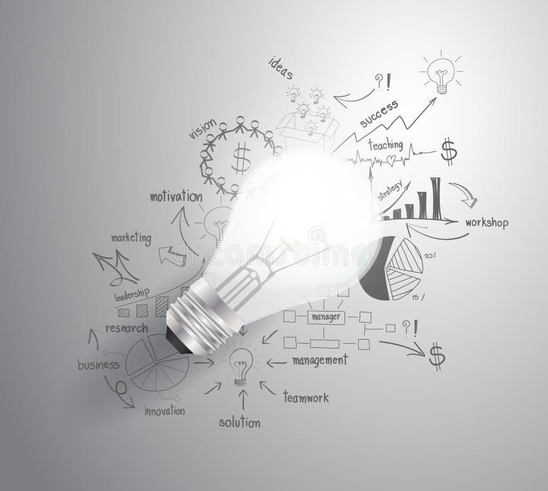Wektorowa żarówka z rysować biznesowego sukcesu st ilustracji