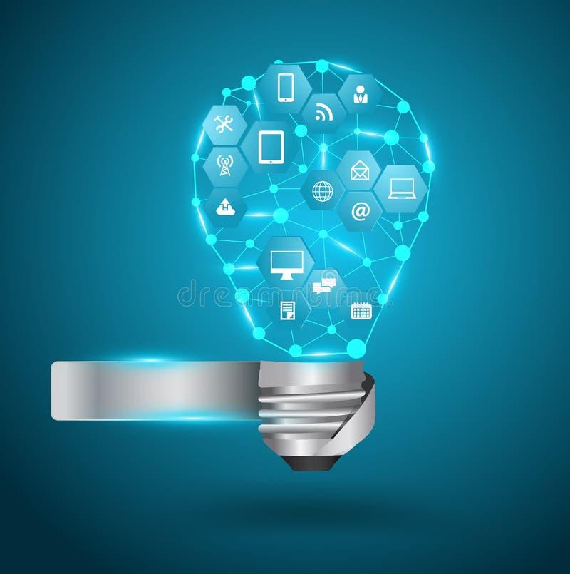 Wektorowa żarówka z technologia biznesu siecią ilustracji
