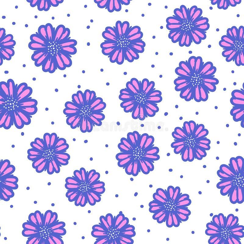 Wektorowa Abstrakcjonistyczna śliczna błękitna ręka rysujący kwiatu bezszwowy wzór odizolowywający na bielu ilustracji
