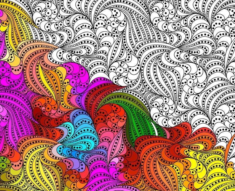 Wektorowa abstrakcjonistyczna bezszwowa ręka rysujący fantazja wzoru ornamenty ilustracji