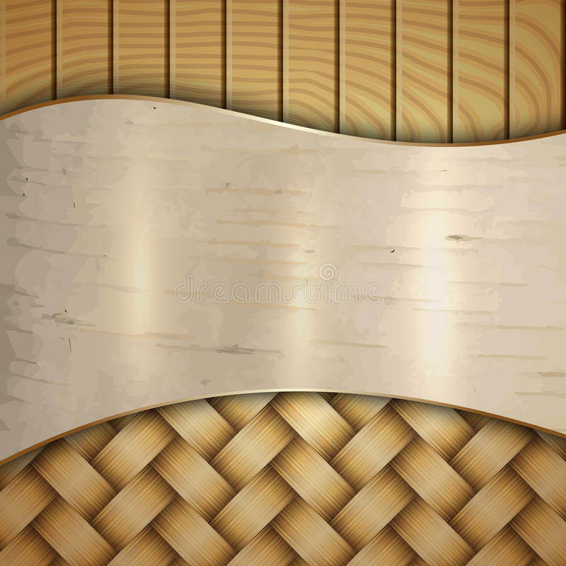 Wektorowa abstrakcjonistyczna drewniana tekstura z wickerwork, ilustracja wektor