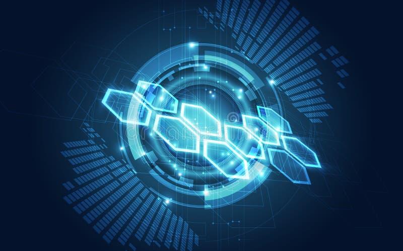 Wektorowa Abstrakcjonistyczna futurystyczna obwód deska, Ilustracyjnej wysokiej technologii cyfrowej błękitny kolor ilustracji
