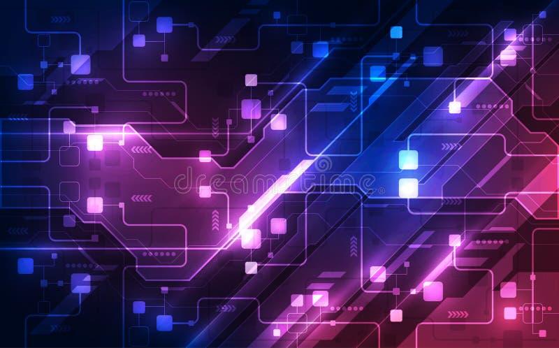 Wektorowa Abstrakcjonistyczna futurystyczna obwód deska, Ilustracyjnej wysokiej technologii cyfrowej błękitny kolor royalty ilustracja