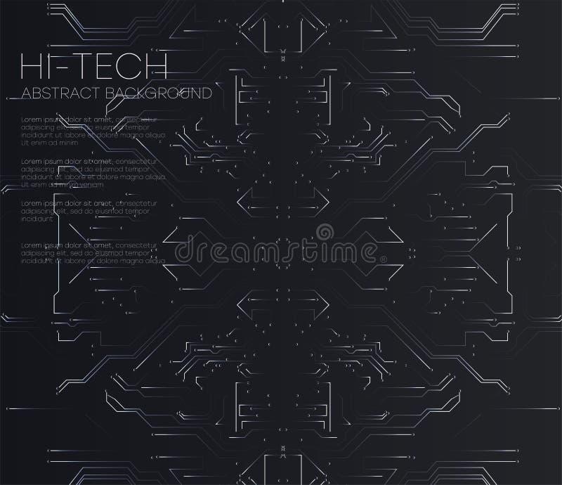 Wektorowa Abstrakcjonistyczna futurystyczna obwód deska, Ilustracyjny wysoki informatyki ciemnego czerni koloru tło royalty ilustracja